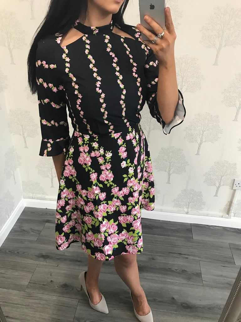 Alexa Black Floral Flare Sleeve Dress