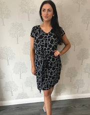 Black And White Pattern Wrap Style Dress