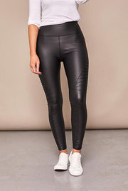 Pattie Black High Waist PU Biker Leggings