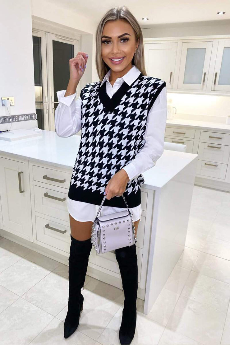 Tiffany Black and White Knitted Dogtooth Tank Top