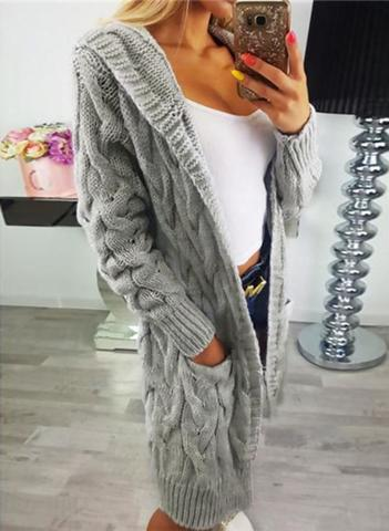 Mena Grey Cable Knit Hooded Cardigan
