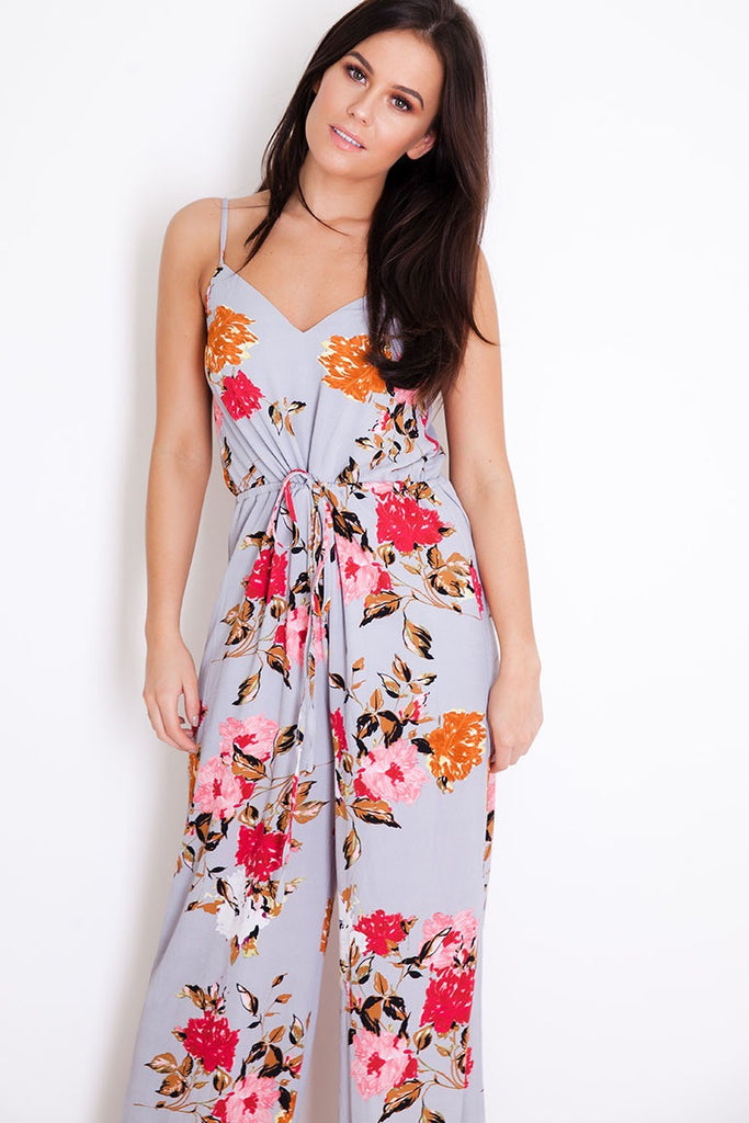 Carly Grey Floral Print Strap Jumpsuit