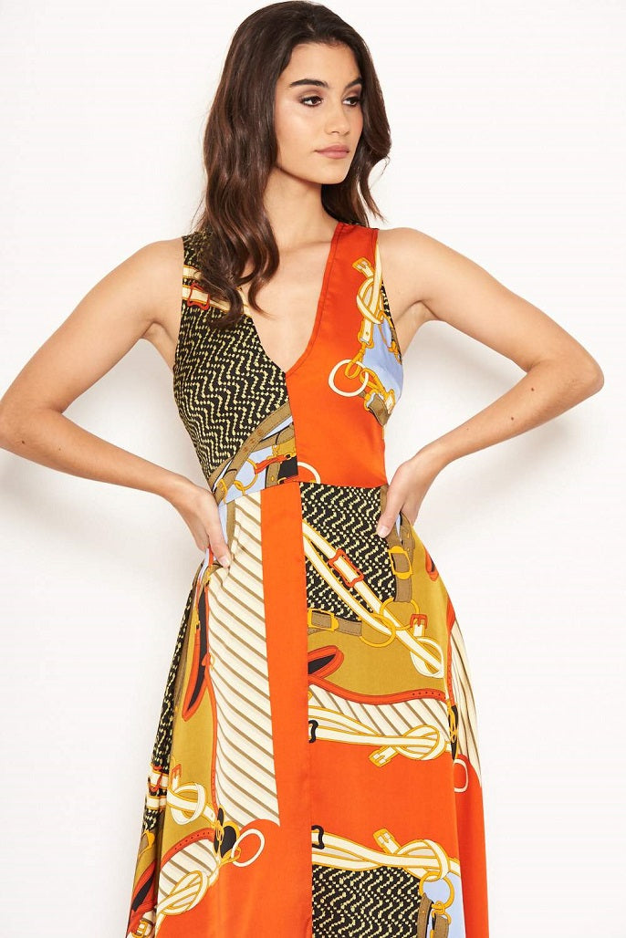 Caroline Orange Multi Chain Print Midi Dress