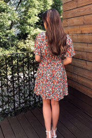 Macy Red Floral Angel Sleeve Skater Dress