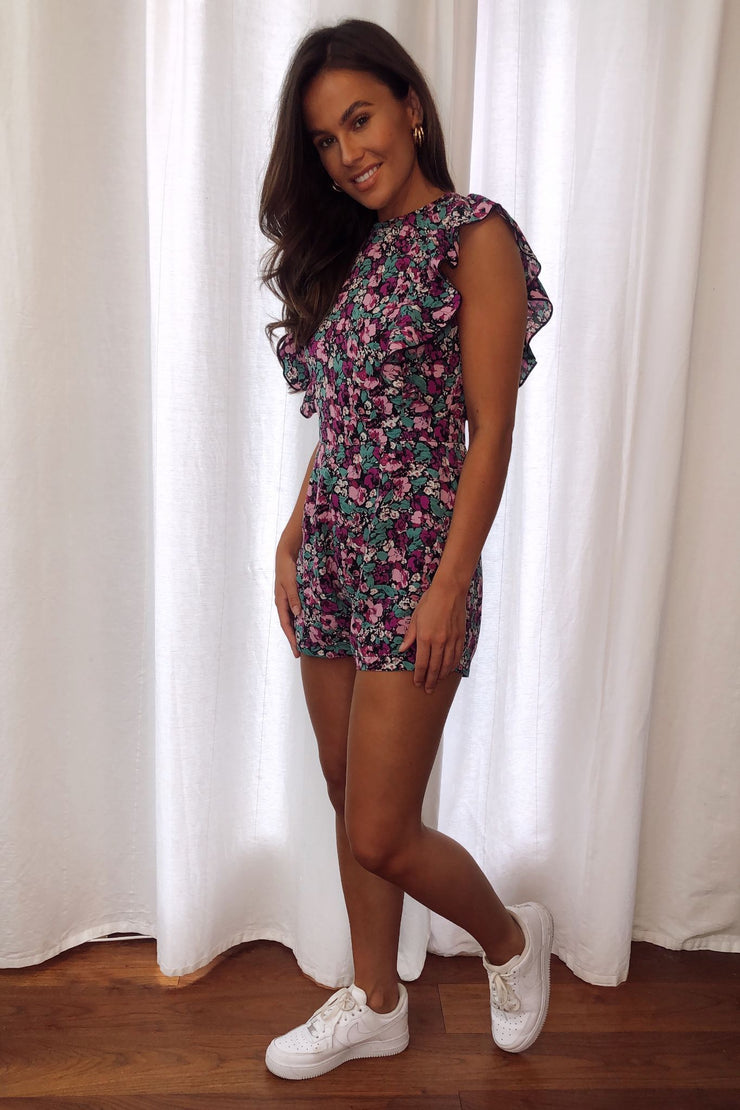 Petra Purple Floral Frill Sleeve Playsuit