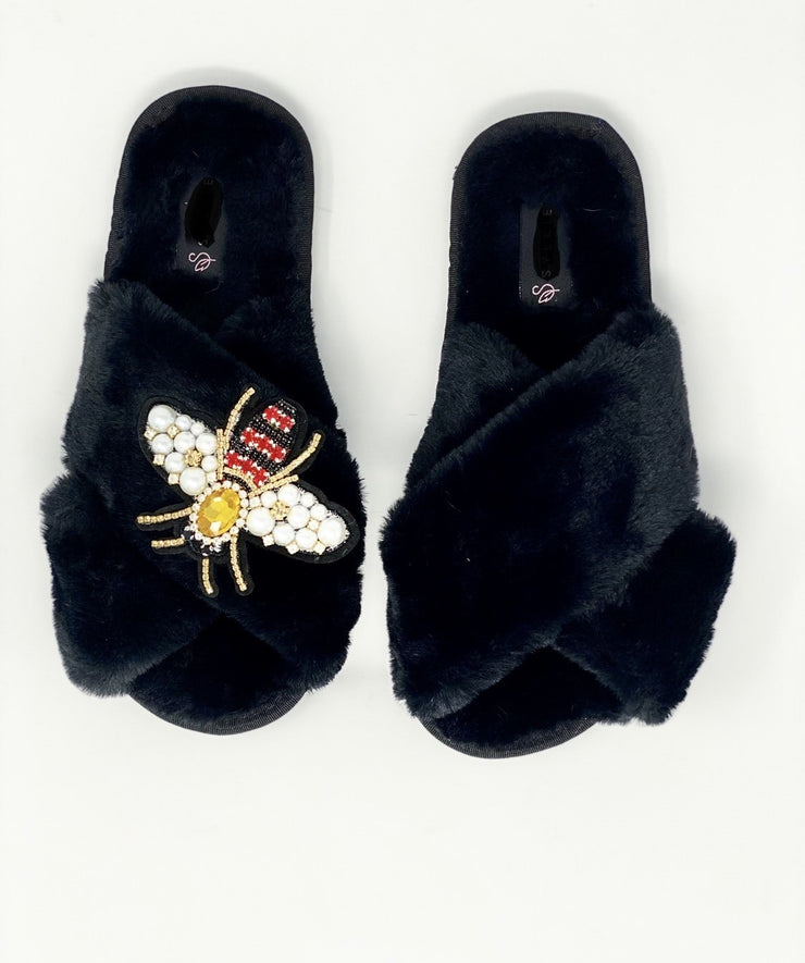 Crystal Black Fluffy Slippers with Queen Bee Embellishment