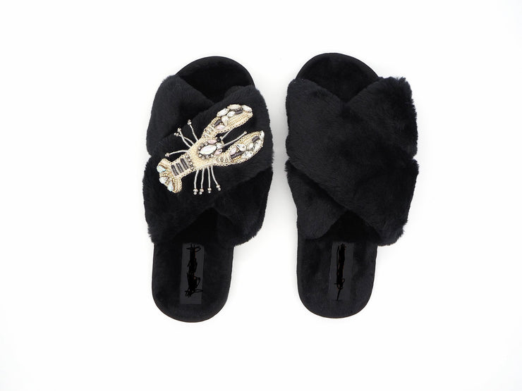 Crystal Black Fluffy Slippers with Lobster Brooch