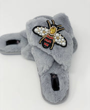 Crystal Grey Fluffy Slippers with Queen Bee Embellishment