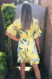 Tanya Yellow Floral Print Frill Wrap Dress