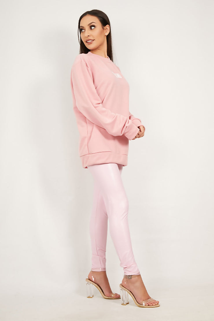 Sam Soft Pink Be Kind Printed Sweatshirt