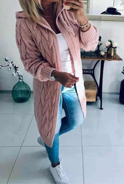 Mena Dusty Pink Cable Knit Hooded Cardigan