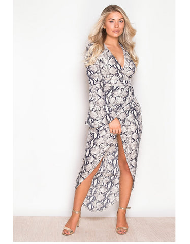 Farrah Navy and Cream Retro Style Print Dress