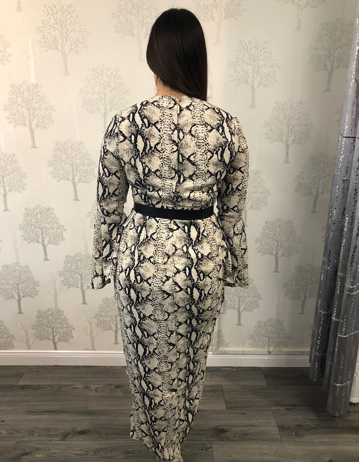 Dana Snake Print Wrap Flute Sleeve Dress