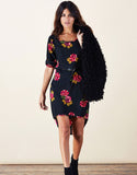 Darcie Black Rose Dress