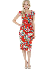 Dora Red Floral Pencil Style Midi Dress