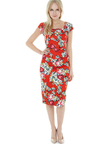 Leah Red Wrap Style Pencil Dress