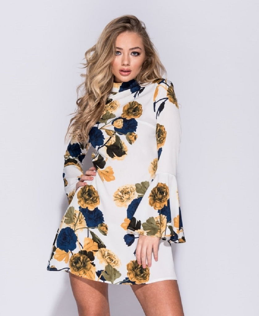 Ellen White Rose Print Flare Sleeve Shift Dress