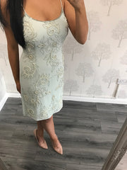 Flo Mint Embellished And Beaded Dress