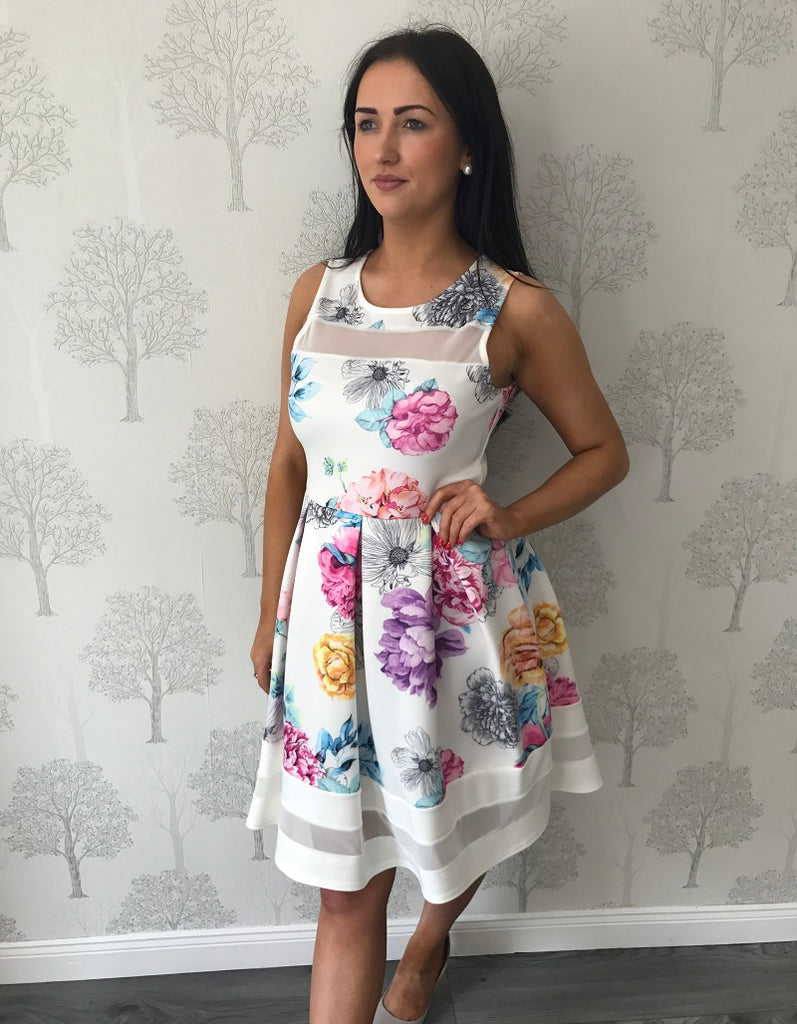 White Floral Sheer Skater Dress