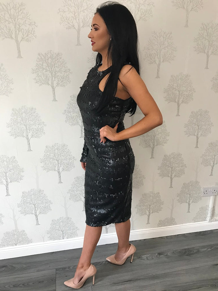 Gemini Dress Embellished In Leatherette Sequins