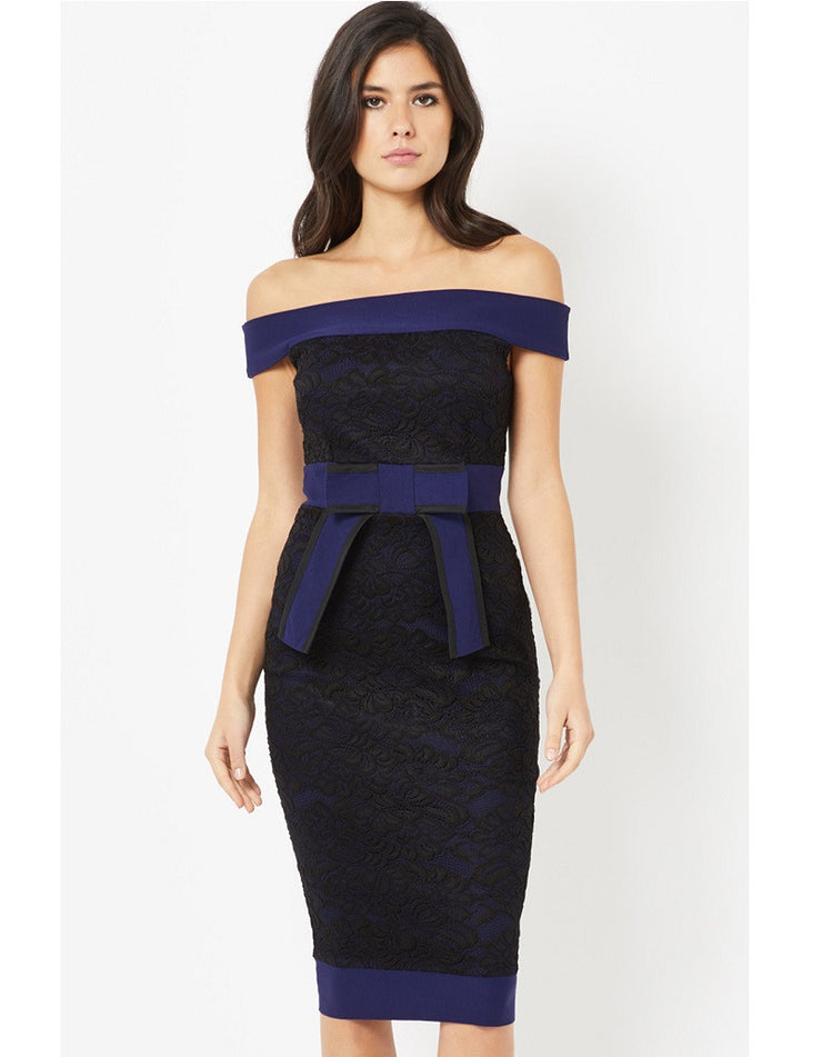 Georgia Navy and Black Lace Bardot Dress