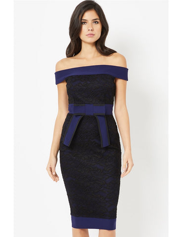 Patricia Black Lace Cold Shoulder Midi Dress