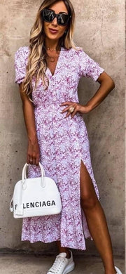 Georgie Pink and Lilac Floral Print Button Midi Dress