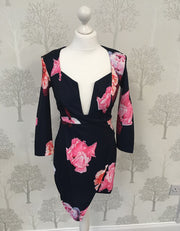 Gigi Navy and Pink Floral Deep V Neck Dress