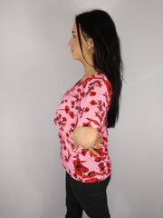 Grace Pink Floral Cape Sleeve Blouse