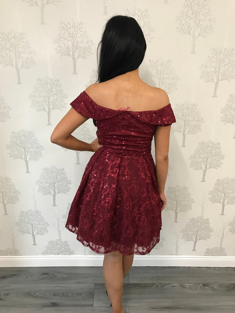 Gracie Wine Bardot Sequin Skater Dress
