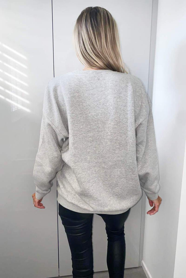 Reanna Grey Red Lips Sweatshirt
