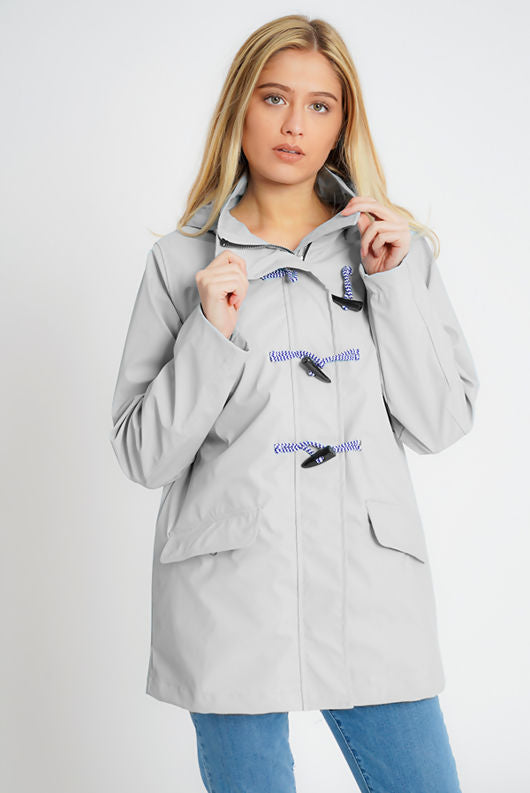 Maddie Grey Rain Mac with Toggles