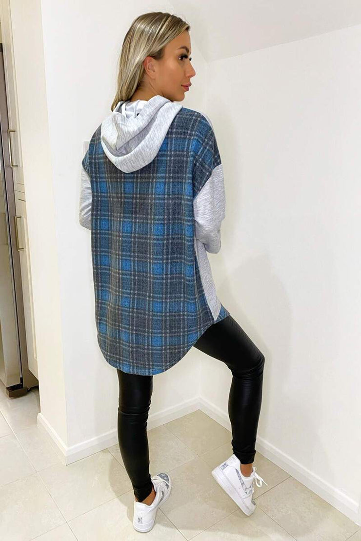 Talia Grey Soft Touch Blue Checked Detailed Hoodie