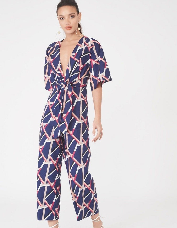 Harlow Abstract Print Tie Front Jumpsuit