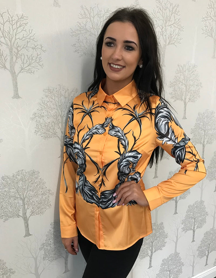 Hattie Yellow Floral Print Long Sleeve Blouse