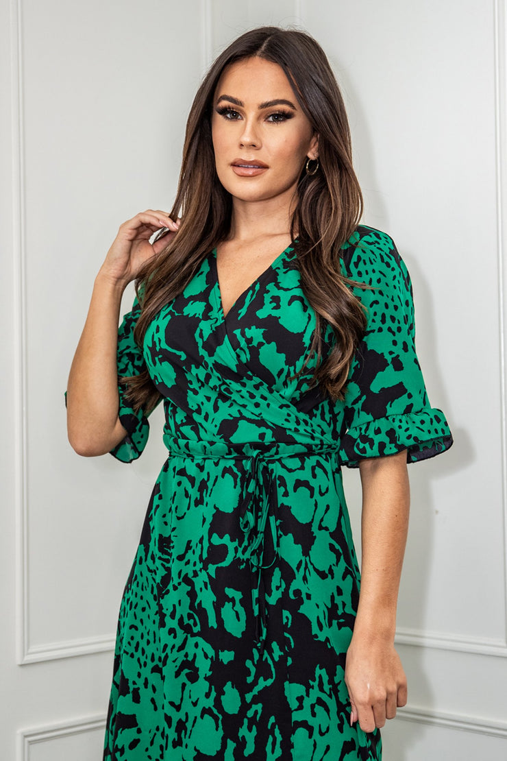 Milana Emerald Green Wrap Neck Split Leg Midi Dress