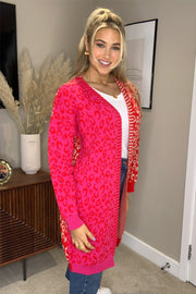 Jody Pink and Red Mixed Print Long Cardigan