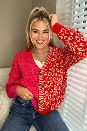 Ellen Red and Pink Multi Print Button Cardigan