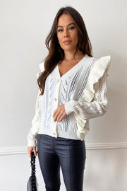 Tilly Cream Diamante Button Frill Cardigan