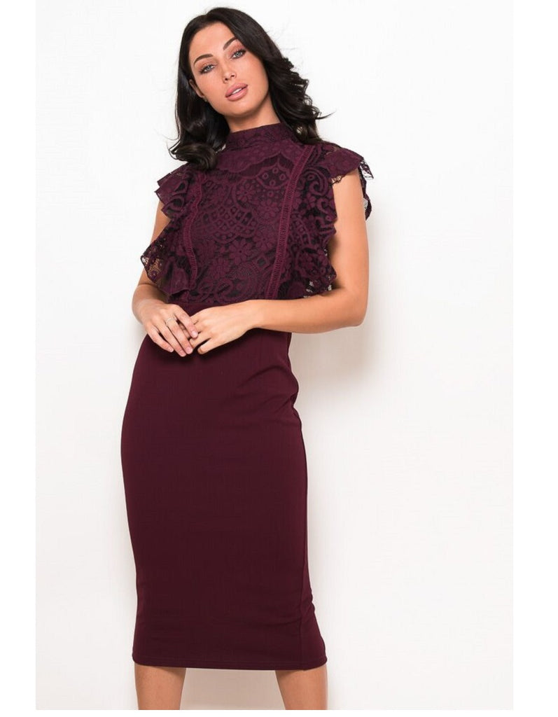Jane Wine Lace Frilled Top Midi Dress
