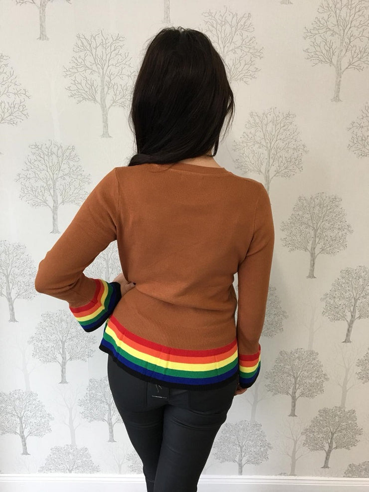 Jane Bronze Rainbow Peplum Hem Jumper
