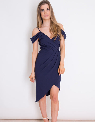 Jilly Navy Wrap Cold Shoulder Dress