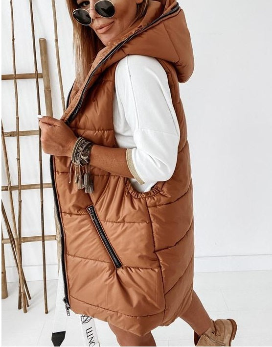 Joanie Camel Hooded Zip Detailed Gilet