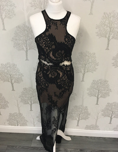 Jordyn Black Lace Racer Back Maxi Dress