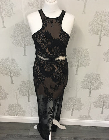 Morgan Black Lace Halterneck Midi Dress