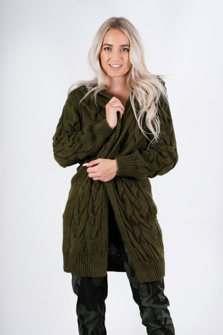 Mena Khaki Cable Knit Hooded Cardigan