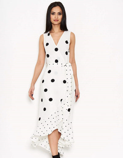 Karlin Cream Polka Dot Frilled Wrap Dress