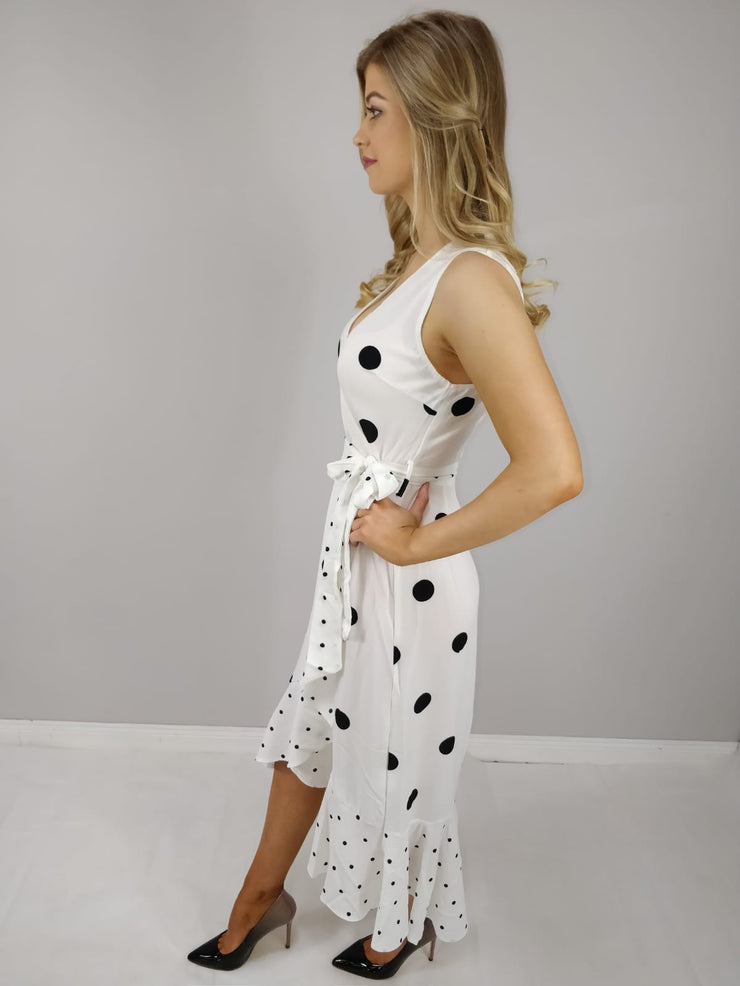 Karlin Cream Polka Dot Frill Wrap Dress