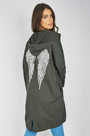 Kendra Khaki Sequin Angel Wing Hooded Cardigan