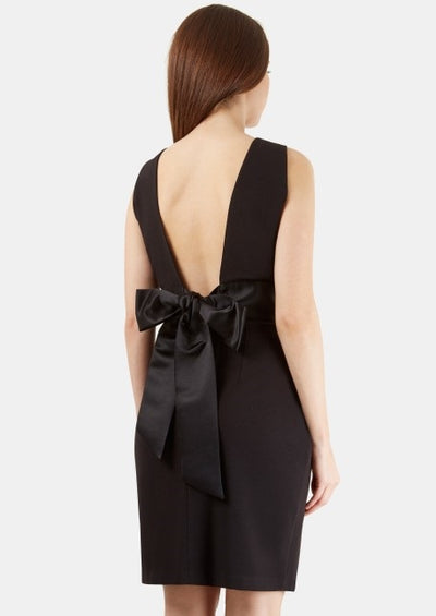 Kiera Black Sleeveless Black Waistband Bow Tie Back Dress